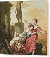The Three Daughters Of Cecrops Discovering Erichthonius Wood Print