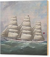 The Three-master Hahnemann In Full Sail Off A Headland Wood Print