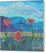 The Three Poppies Wood Print