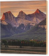 The Three Sisters Canmore Wood Print