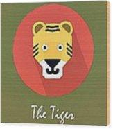 The Tiger Cute Portrait Wood Print