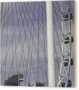 The Top Section Of The Marina Bay Sands As Seen Through The Spokes Of The Singapore Flyer Wood Print