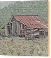 The Tractor Barn Wood Print by Calvert Koerber