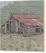 The Tractor Barn Wood Print