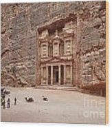 the treasury Nabataean ancient town Petra Wood Print by Juergen Ritterbach