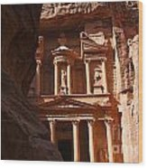 The Treasury Seen From From The Siq Petra Jordan Wood Print by Robert Preston