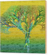 The Tree In Summer At Sunrise - Painterly - Abstract - Fractal Art Wood Print