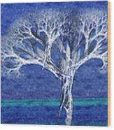 The Tree In Winter At Dusk - Painterly - Abstract - Fractal Art Wood Print