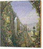 The Trellis Window Trengtham Hall Gardens Wood Print by E Adveno Brooke