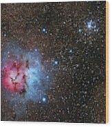 The Trifid Nebula And Messier 21 Wood Print