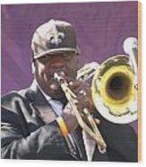 The Trombone Player Wood Print