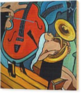 The Tuba Player Wood Print