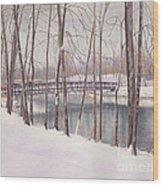 The Tulip Tree Bridge In Winter Wood Print by Elizabeth Dobbs