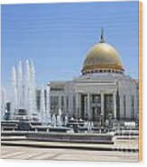 The Turkmenbashi Palace In Independence Square In Ashgabat Turkmenistan Wood Print