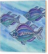 The Turquoise Rainbow Fish Wood Print