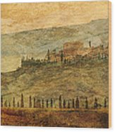 The Tuscan Landscape Near Pienza Wood Print