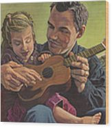 The Ukelele Lesson Wood Print by Paige Wallis