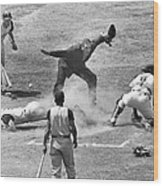 The Umpire Calls It Safe Wood Print