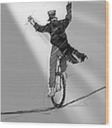 The Unicyclist  Wood Print