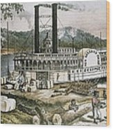 The United States 19th C..steamship Wood Print by Everett