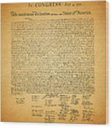 The United States Declaration Of Independence - Square Wood Print