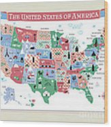 The United States Of America Map Wood Print