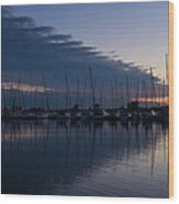 The Urge To Sail Away - Violet Sky Reflecting In Lake Ontario In Toronto Canada Wood Print