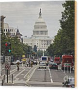 The Us Capitol Building From Pennsylvania Avenue Wood Print