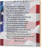 The U.s.a. Flag Poetry Art Poster Wood Print