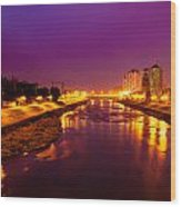 The Vardar River In Skopje At Night. Wood Print by Slavica Koceva