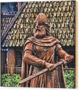 The Viking Warrior Statue  Wood Print by Lee Dos Santos