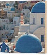 The Village Of Oia Santorini Cyclades Wood Print