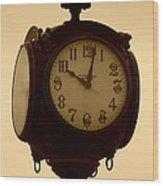The Vintage Town Clock Wood Print