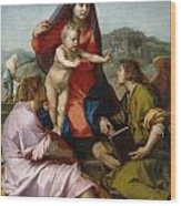 The Virgin And Child Between Saint Matthew And An Angel Wood Print