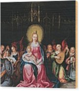 The Virgin And Child Surrounded Wood Print