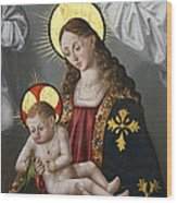 The Virgin And The Child With The Parrot Wood Print