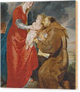 The Virgin Presents The Infant Jesus To Saint Francis Wood Print