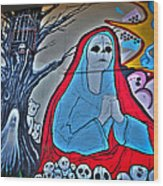 The Virgin Skeleton Adoring Wood Print by Andres Leon
