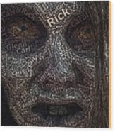 The Walking Dead Names Zombie Mosaic Wood Print