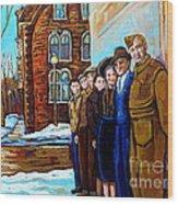 The War Years 1942 Montreal St Mathieu And De Maisonneuve Street Scene Canadian Art Carole Spandau Wood Print