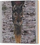 The Watchful Wolf Wood Print