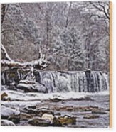The Waterfall Near Valley Green In The Snow Wood Print