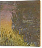 The Waterlilies At Setting Sun Wood Print