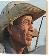 The Weathered Face Of An Ox Cart Driver Wood Print