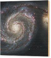 The Whirlpool Galaxy M51 And Companion Wood Print by Adam Romanowicz