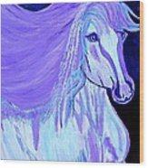 The White And Purple Horse 1 Wood Print