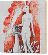 The White Bunny Wood Print