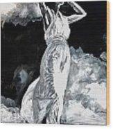 The White Deer Wood Print