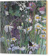 The White Garden Wood Print