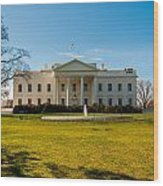 The White House In Washington Dc With Beautiful Blue Sky Wood Print